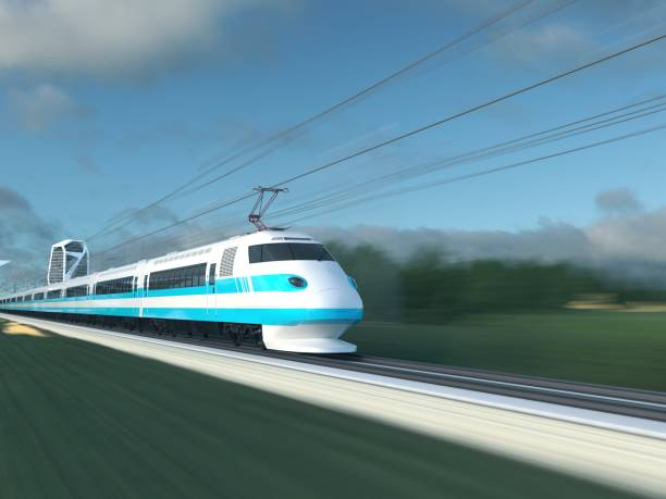 High Speed Train 3D illustration of high speed train bullet train stock pictures, royalty-free photos & images