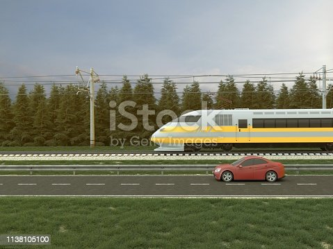 3D illustration of high speed train  This image doesn`t contain any visible trademarked products, corporate identity, logos, or copyrighted elements. I am author of design of this car and train. I am author of 3d model of this car and train