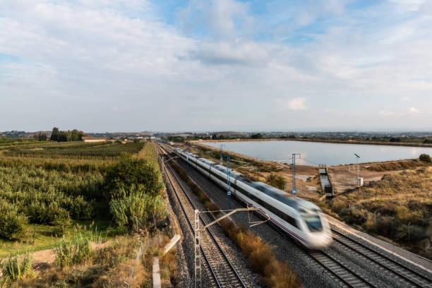 high speed train running in lleida province (spain) - lleida zdjęcia i obrazy z banku zdjęć