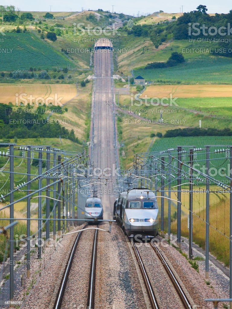 High speed train TGV climbing montain stock photo