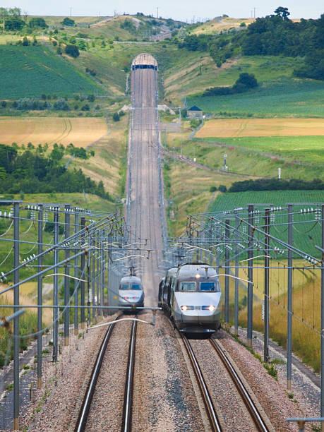 High speed train TGV climbing montain stock photo