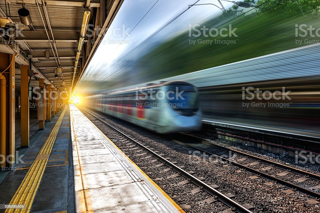 high speed train with motion blur stock photo