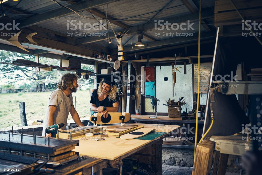 High spirits in the workshop stock photo