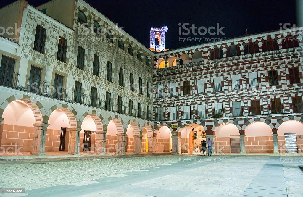 High square at night (Plaza Alta, Badajoz), Spain stock photo
