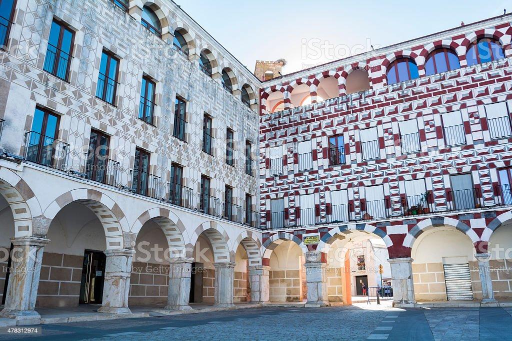 High square (Plaza Alta, Badajoz), Spain stock photo