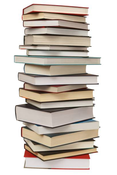 High stack of books High stack of books isolated on white background stack stock pictures, royalty-free photos & images