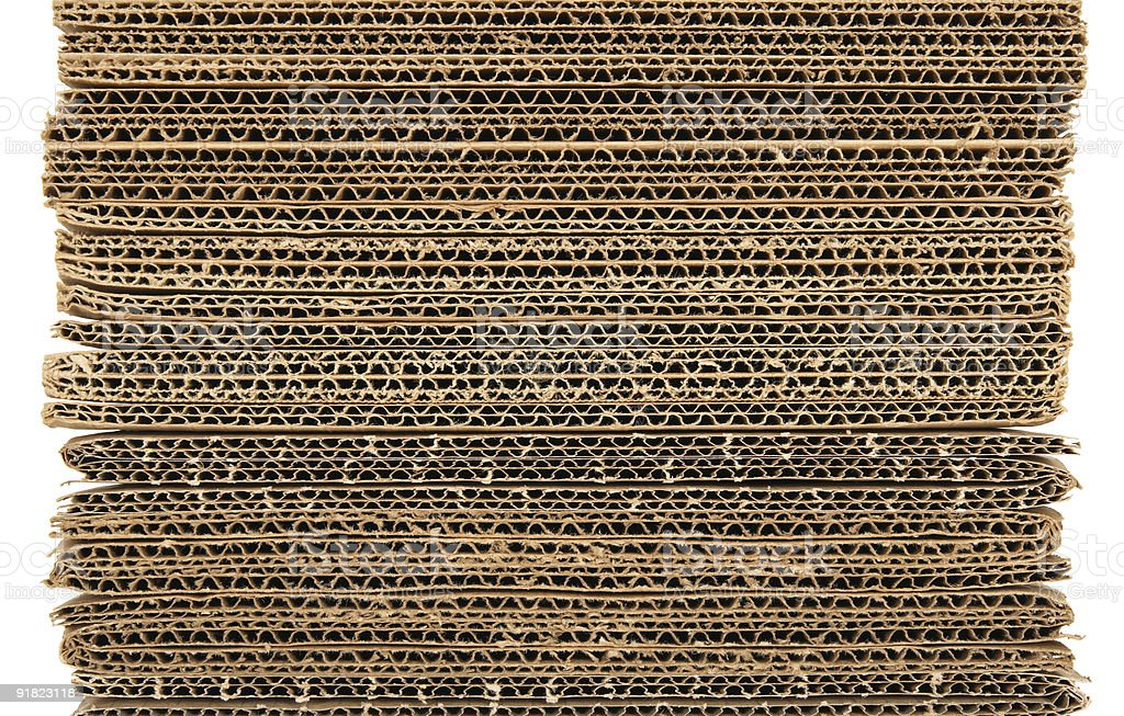 High stack of corrugated cardboard stock photo