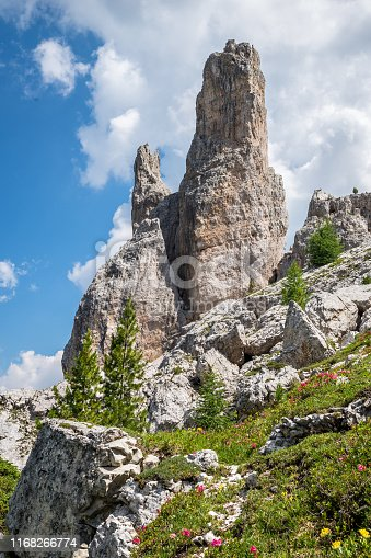 Scenic view of the characteristic bizarre rock formations which can be found in the Dolomite mountains in northern Italy.