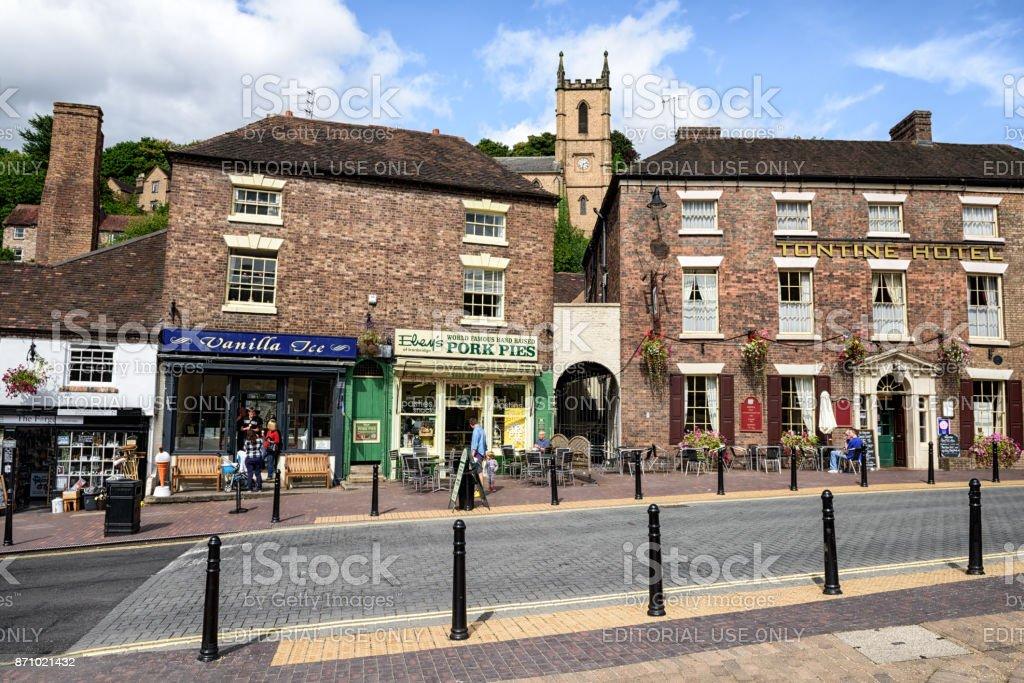 High Street and Church, Ironbridge,  England stock photo