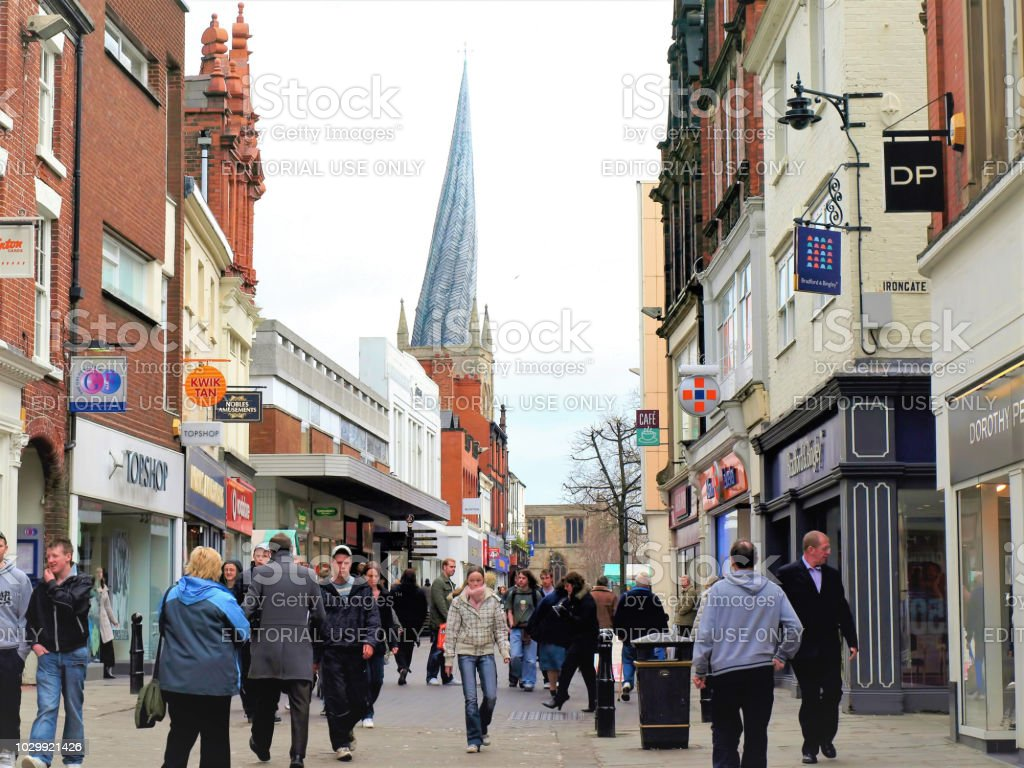 High street, Chesterfield. stock photo