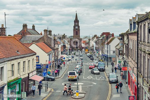 Berwick-upon-Tweed, England - April 2018: High Street in town center of Berwick-upon-Tweed, northernmost town in Northumberland at the mouth of River Tweed in England, UK