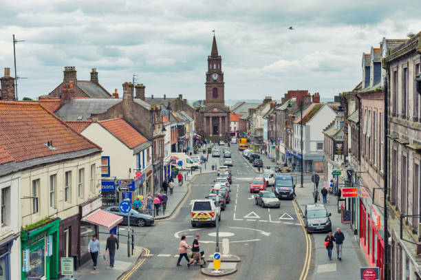 High Street in town center of Berwick-upon-Tweed, northernmost town in Northumberland at the mouth of River Tweed in England, UK stock photo