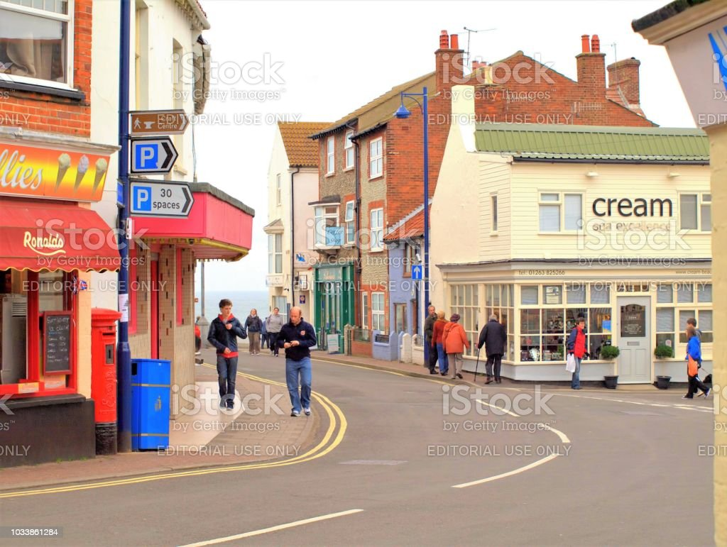 High street, Sheringham. Norfolk. stock photo