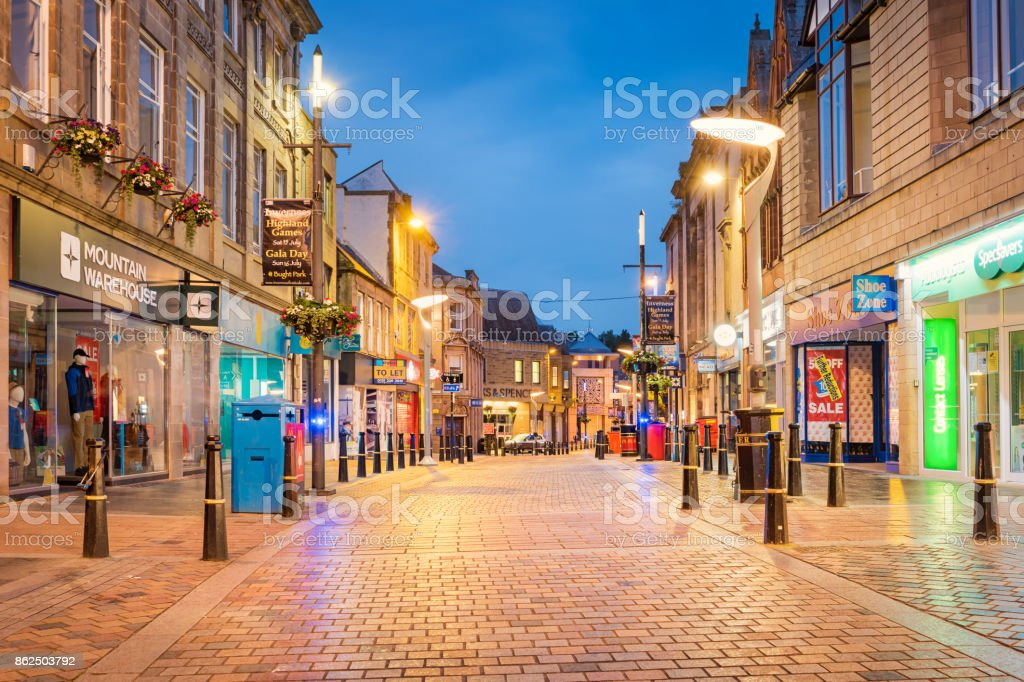 High street shopping area in downtown Inverness Scotland UK stock photo