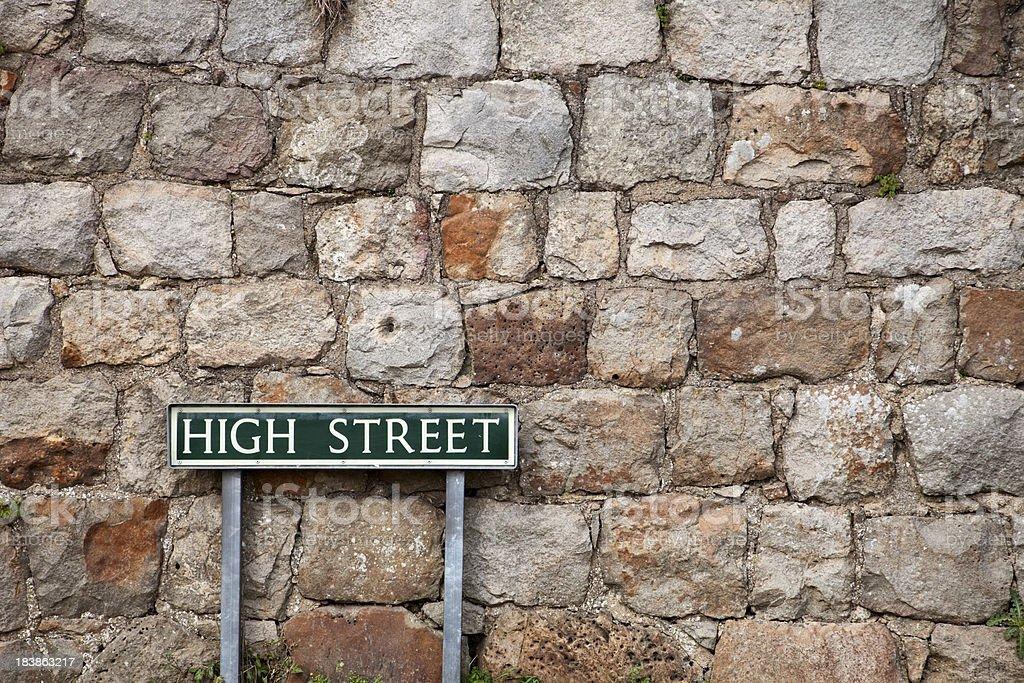 High Street Sign and Stone Wall, Avebury, UK stock photo