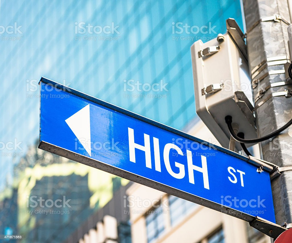 High Street Sign in the City royalty-free stock photo