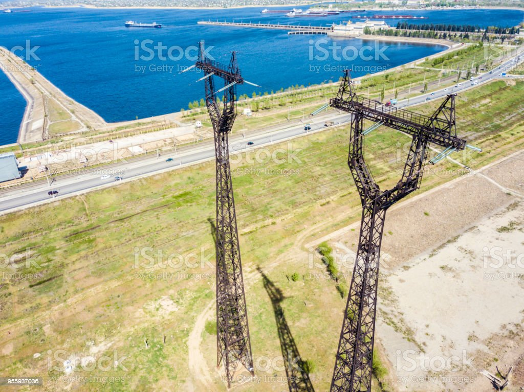 high tall high voltage power lines towers