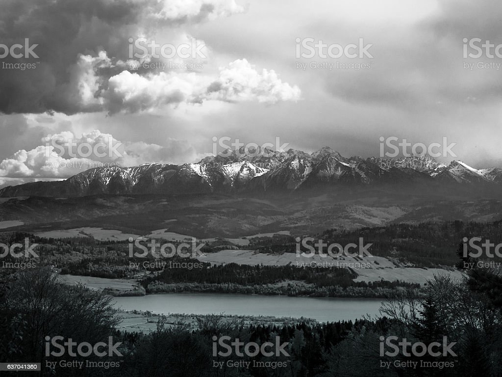 High Tatras from Gorce mountains. Black and White. stock photo