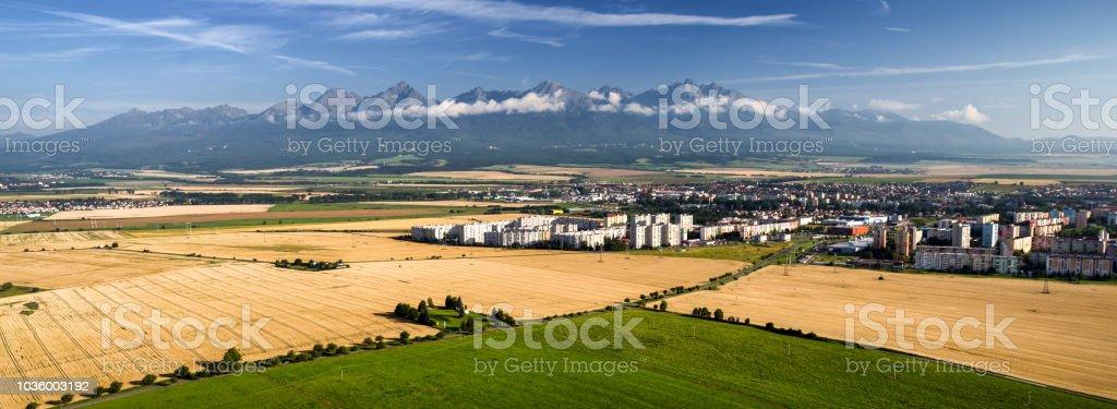 High Tatras mountains and city Poprad, Slovakia stock photo