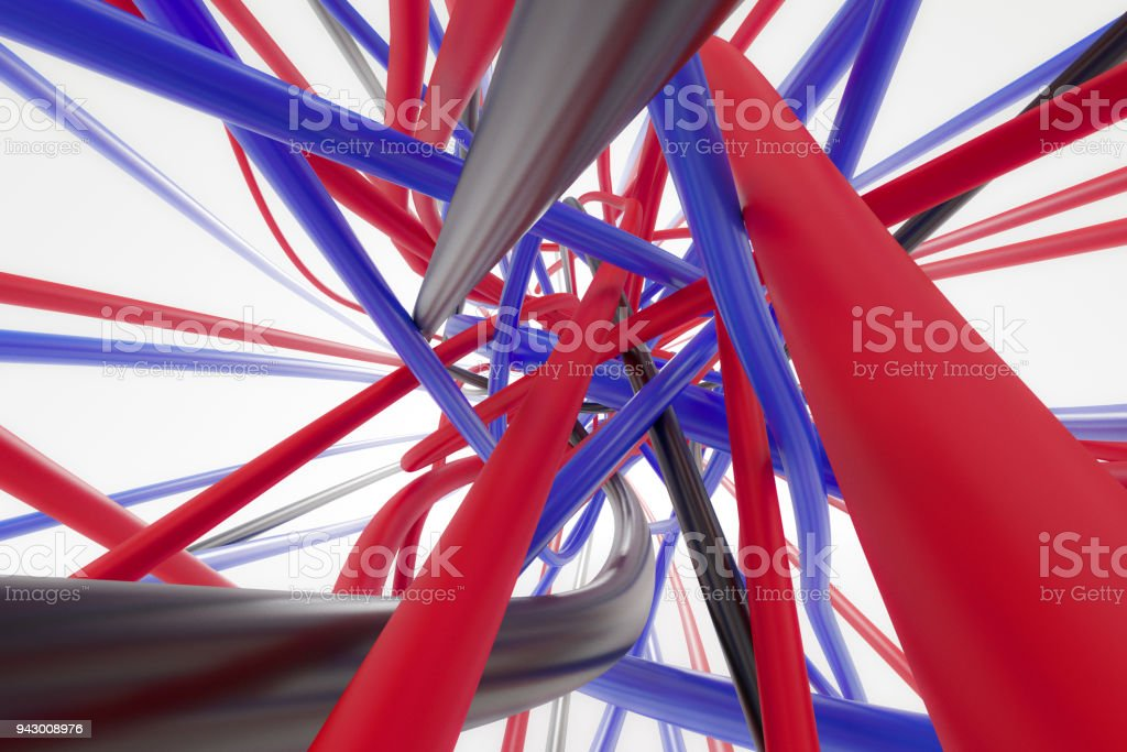 High Tech Black Blue And Red Wires On The White Background 3d ...