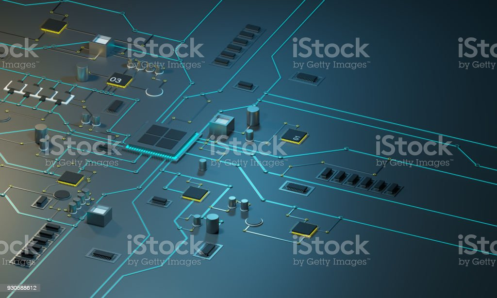 High tech electronic PCBwith processor, microchips and glowing digital electronic signals. stock photo