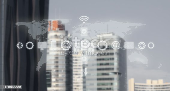 High Tech Global Business Model. Smart City And World Map With Services and Icons, Internet of Things, Networks, Communication