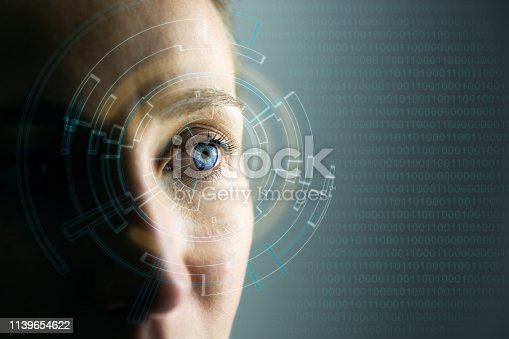 510584002istockphoto High Technologies in the future. Young woman's eye and high-tech concept, augmented reality display, wearable computing 1139654622