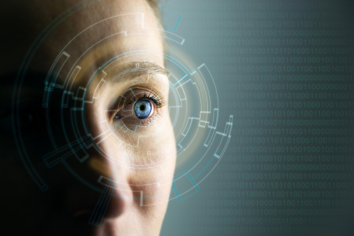 High Technologies In The Future Young Womans Eye And Hightech Concept Augmented Reality Display Wearable Computing Stock Photo - Download Image Now