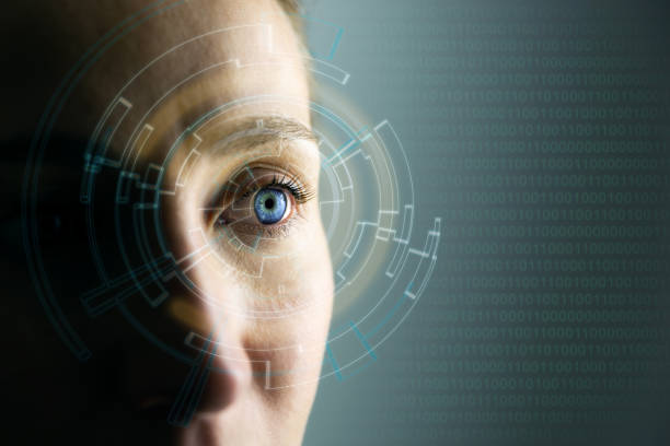 high technologies in the future. young woman's eye and high-tech concept, augmented reality display, wearable computing - eye stock pictures, royalty-free photos & images