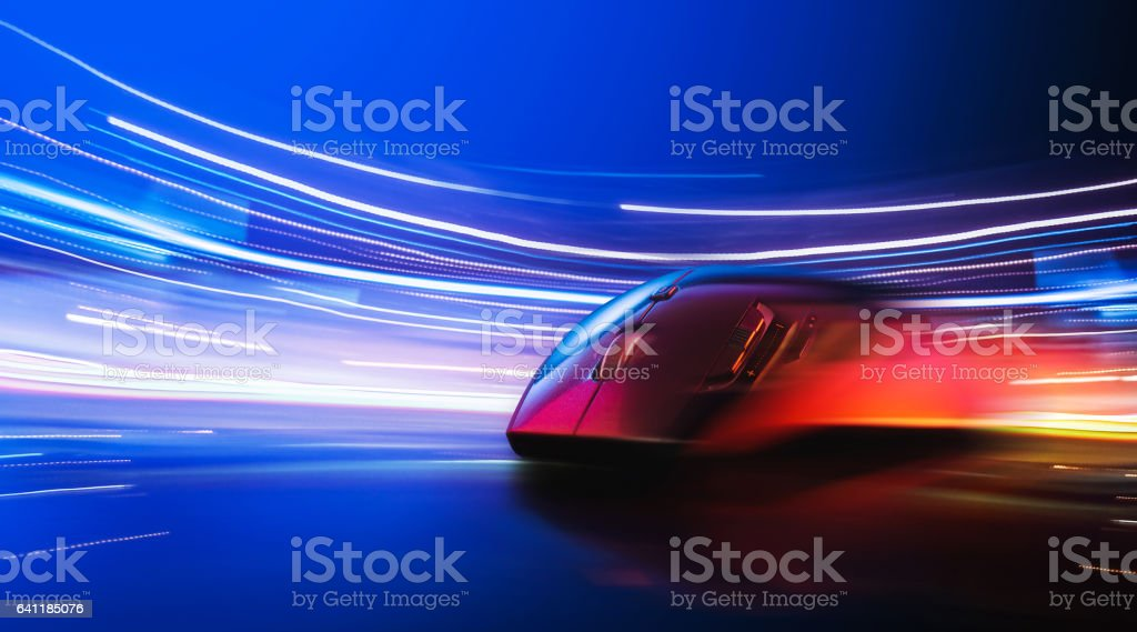 High technology computer gaming mouse stock photo