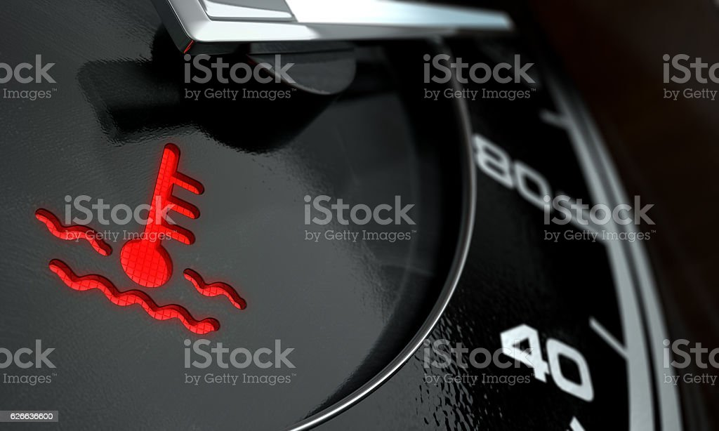 High Temperature Dashboard Light stock photo