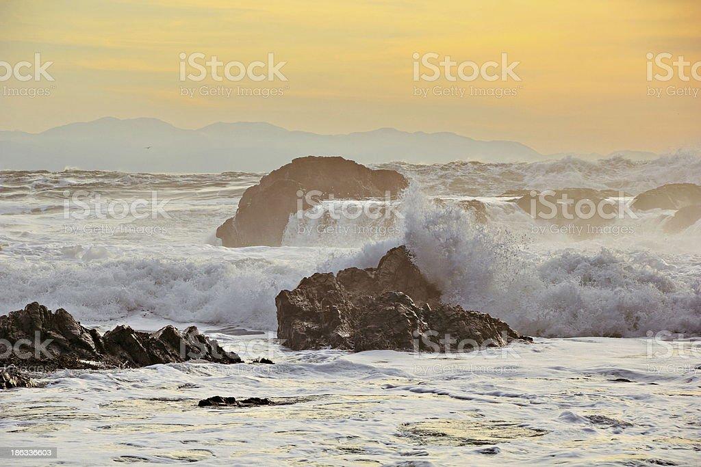 High Tide Sunset, Botanical Beach, Port Refrew, BC stock photo