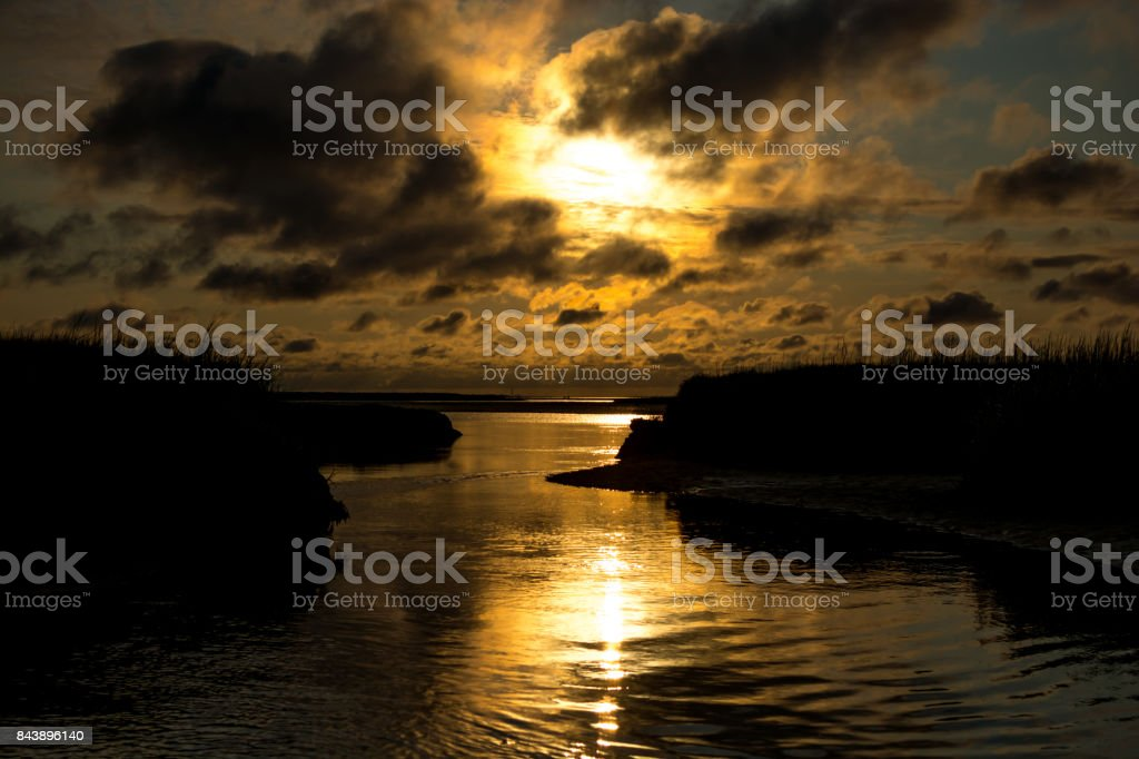 High Tide Sunset in Cape Cod stock photo