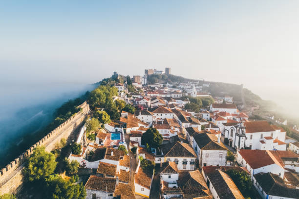 High top view medieval portuguese town. stock photo