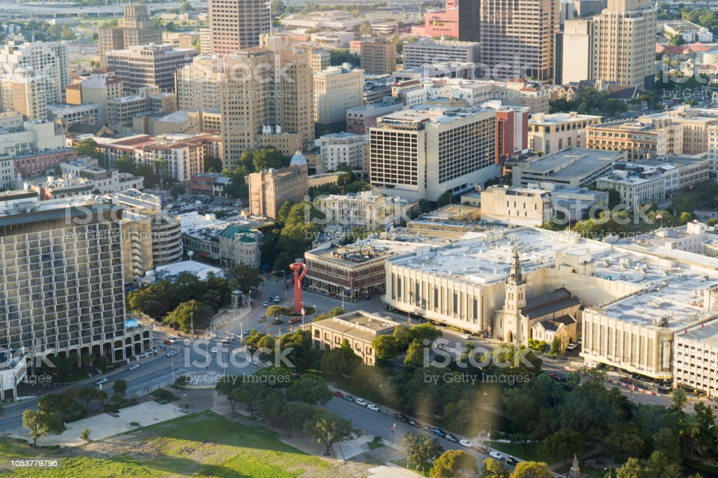 High Up View of Downtown San Antonio Commerce and Market Street