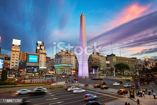 High up view of Obelisk at Avenue of 9 de Julio at sunset, Buenos Aires.