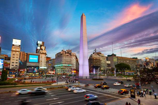 High up view of Obelisk at Avenue of 9 de Julio at sunset, Buenos Aires stock photo