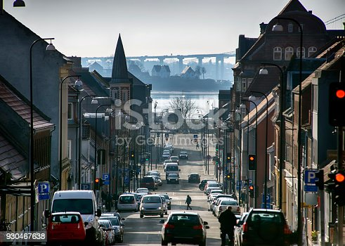 Fredericia City, Denmark, Scandinavia. High up view a beautiful cold winter day.