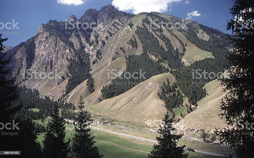 High Valley Steep Mountain slopes Tien Shan Mountains Xinjiang China stock photo