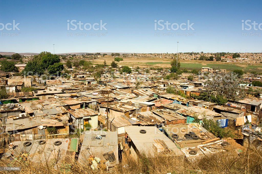 A high view of a town with shacks stock photo