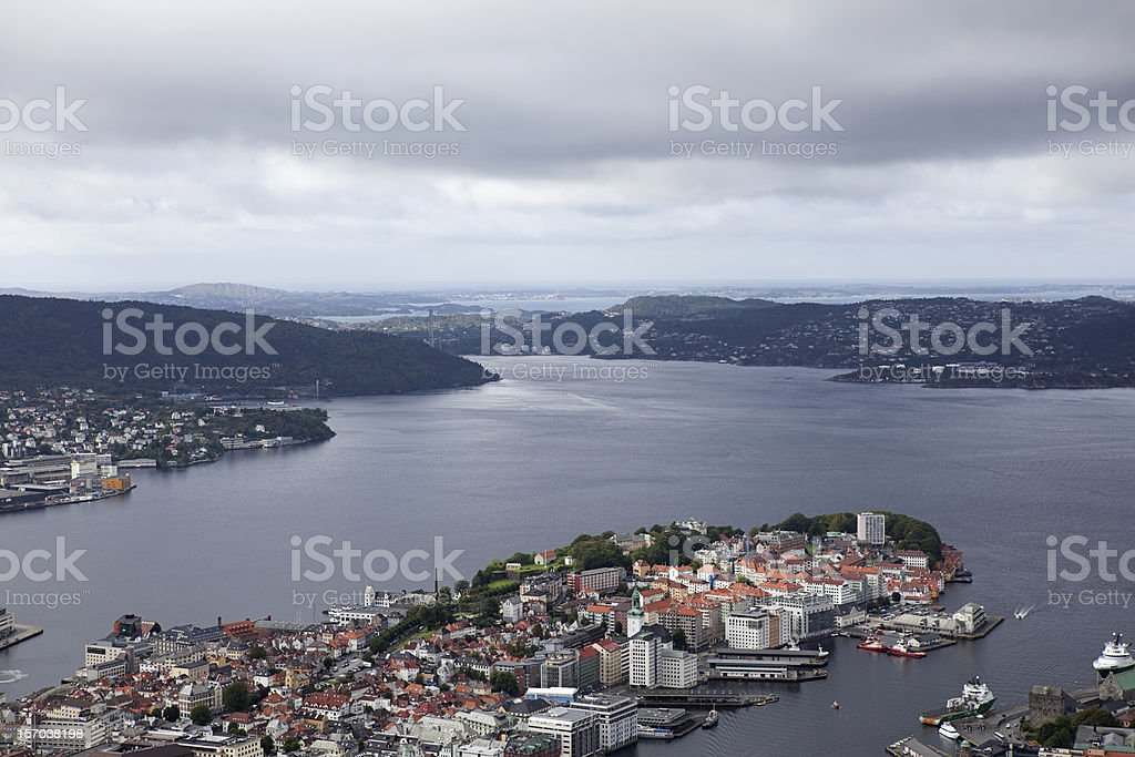 High view of Bergen royalty-free stock photo