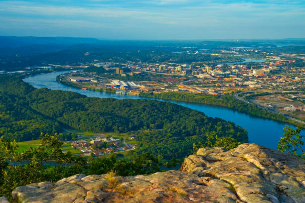 High view of Chattanooga View of Chattanooga, Tennessee, from a high point on Lookout Mountain chattanooga stock pictures, royalty-free photos & images