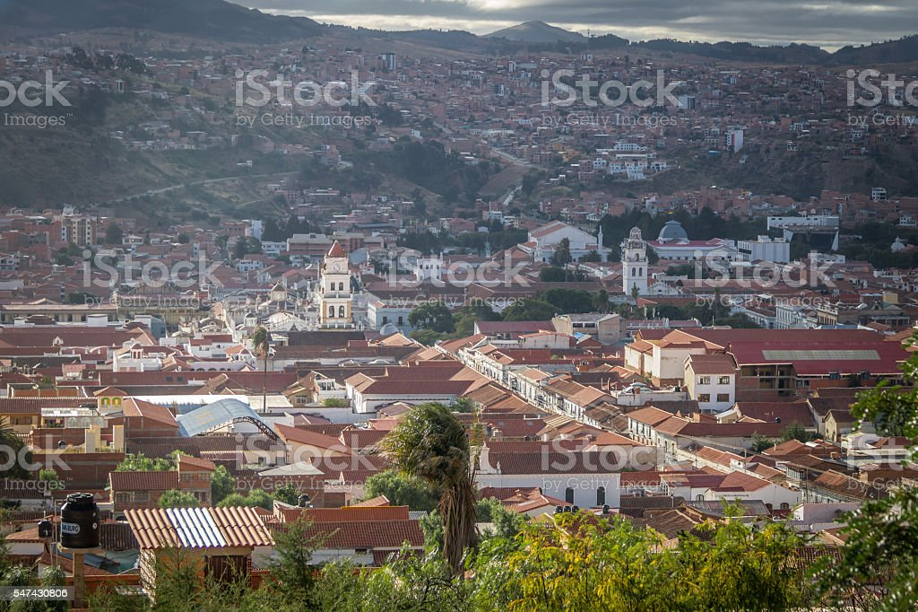 High view of city of Sucre, Bolivia stock photo