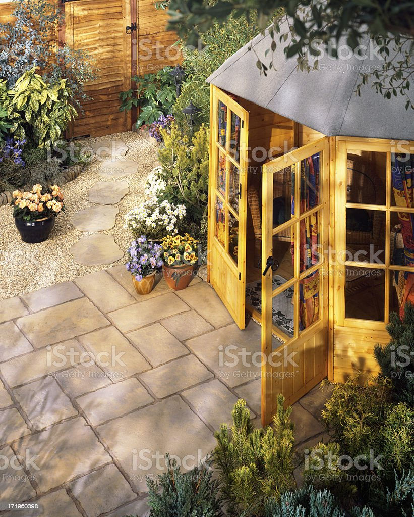 High view of garden shed on patio stock photo