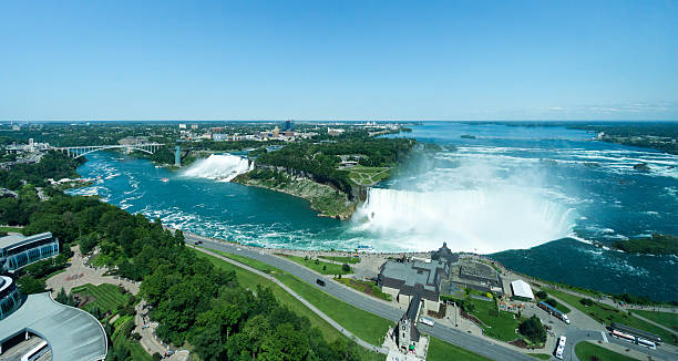 High View of Niagara Falls A high daytime view of Niagara Falls , the international border of the Rainbow Bridge, and the twin cities of Niagara City. rainbow bridge ontario stock pictures, royalty-free photos & images