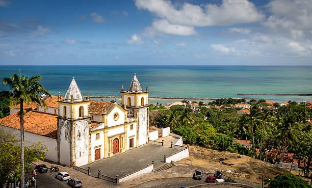 high view of olinda and se cathedral - pernambuco, brazil - recife e olinda - fotografias e filmes do acervo