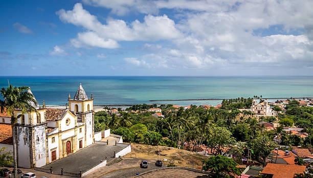 High view of Olinda and Se Cathedral - Pernambuco, Brazil stock photo