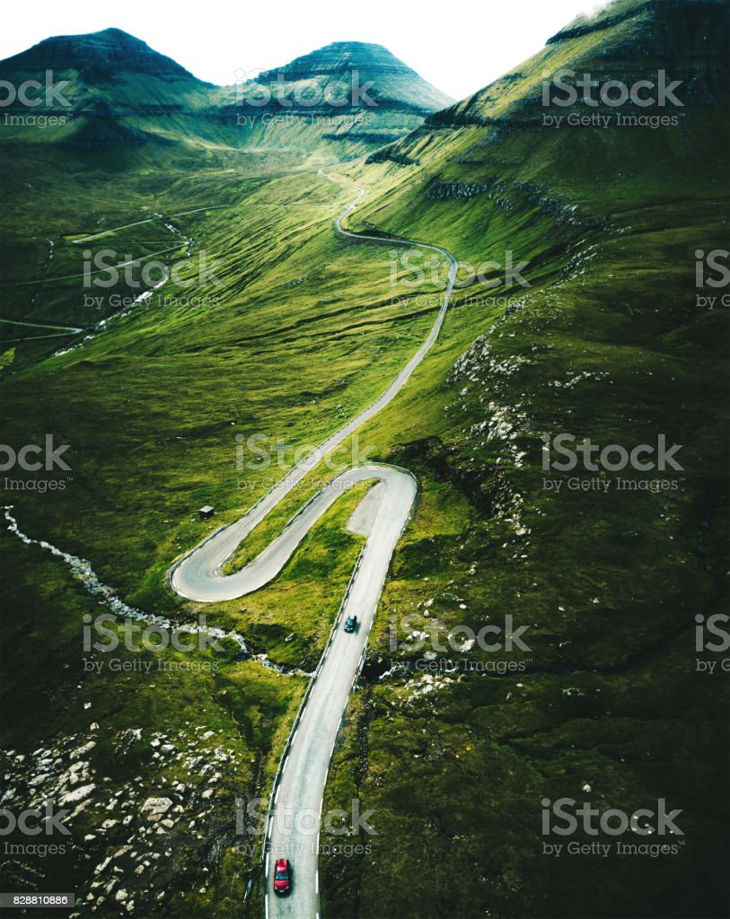high view of the winding roads at the faroe islands stock photo