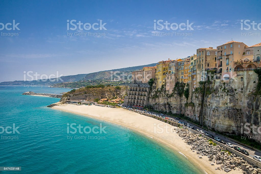 High view of Tropea town and beach - Calabria, Italy stock photo