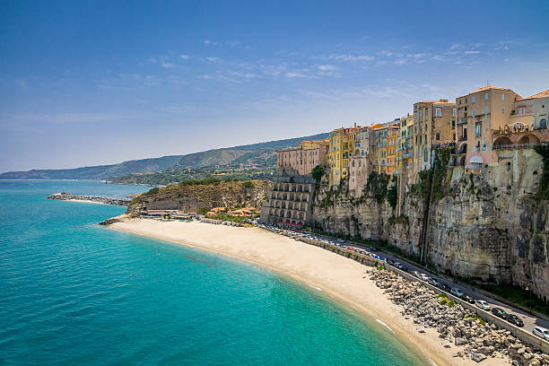 high view of tropea town and beach - calabria, italy - foto di tropea foto e immagini stock